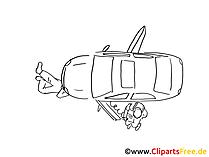 Breakdown voertuig clip art zwart en wit, grafisch, cartoon, komiek