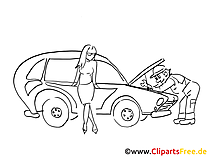 Car break-down clip art black and white, graphic, pic, cartoon, comic free