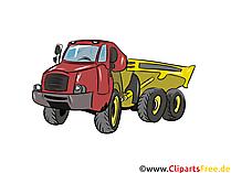 Dumper truck illustratie, afbeelding, clipart auto's