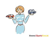 Vrouwen en auto's clipart, afbeelding, grafisch, cartoon, gratis illustratie