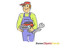 Autowerktuigkundige in workshop clipart, grafisch beeld, beeldverhaal, vrije illustratie