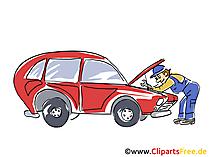 Auto workshop clipart, afbeelding, afbeelding, tekenfilm, gratis illustratie