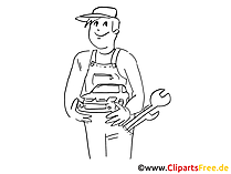 Motorcar mechanic clip art, graphic, pic, cartoon, comic free