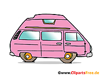 clipart bus merah muda dengan tema mobil