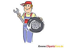 Band veranderen, Tyre service clipart, afbeelding, grafisch, cartoon, gratis illustratie