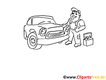 Service en reparatie voertuig clip art zwart en wit, grafisch, komisch