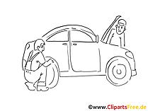Banden service illustraties zwart en wit, grafisch, pic, cartoon, comic gratis