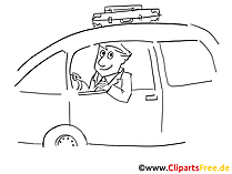 Trvaling by car clip art black and white, graphic, pic