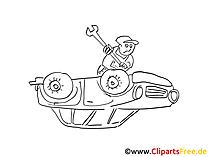 Voertuig reparatie illustraties zwart en wit, grafisch, pic, cartoon, comic gratis