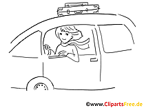 Women driving car clip art, graphic, pic, cartoon, comic free