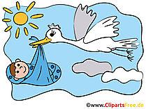 Kaart Geboorte - Comic Stork brengt baby