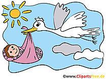 Karte zur Geburt im Cartoon-Stil