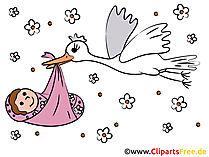 コウノトリと赤ちゃんのクリップアート - 画像