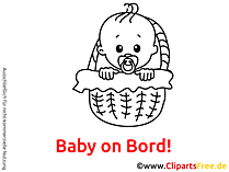 Baby im Korb Clipart, Bild, Cartoon, Grafik