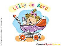 Baby Maedchen im Kinderwagen Clipart, Bild, Grafik