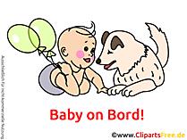 赤ちゃんと犬のボード画像、漫画、グラフィック、クリップアート