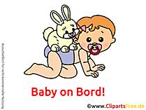 Baby und Kaninchen Clipart, Bild, Cartoon, Grafik