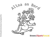Cartoon Baby on Board AUfkleber selbst gestalten