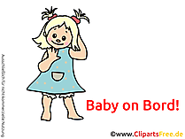Kinder on Bord Clipart, Bild, Cartoon