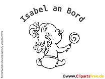 Maedchen on Board Cartoon zum Erstellen eines Auto-Aufklebers