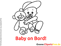 Schwarz-weiss Cartoon Baby on Bord