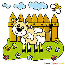 Cartoon cow - pictures from the farm