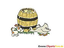 Fass auf dem Bauernhof Clipart, Bild, Cartoon