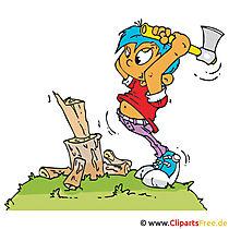 Junge mit Axt hackt Holz Clipart, Bild, Cartoon, Grafik, Illustration