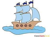 フリゲート艦のクリップアート