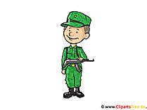 兵士のイメージ、クリップアート、漫画、無料イラスト