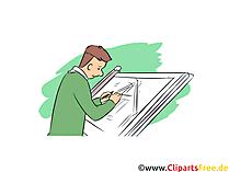 Bauzeichner Clipart, Bild, Grafik zum Thema Ausbildungsberufe