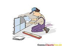 Fliesenleger  Clipart, Bild, Grafik zum Thema Ausbildungsberufe