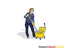 Gebäudereiniger, Putzfrau Clipart, Bild, Grafik zum Thema Ausbildungsberufe