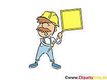 Byggnadsarbetare med sköld powerpoint-grafik gratis