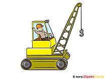 Clipart grävmaskin, byggarbetsplats, byggmästare