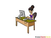 Clipartsecretaresse, bedrijfsvrouw, bureauvrouw