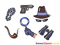 Detective werkt clipart-afbeeldingen