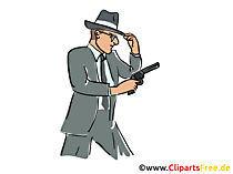 Detective with pistol illustration, clip-art