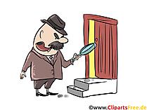 Clipart Detektiv auf der Suche nach Spuren