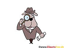 Comic Hund mit Lupe, Detektive Illustrationen und Bilder