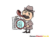 Detektiv mit Zeitung und Lupe Illustration und Clipart
