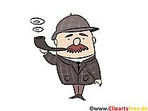 Sherlock Holmes İllüstrasyon, Komik, Çizgi Film