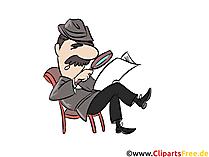 Büyüteç ile gazete okuma, küçük resim, illüstrasyon, çizgi film
