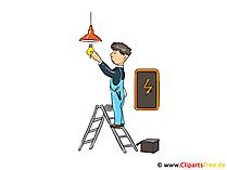 Elektricien afbeelding, cartoon, illustraties, afbeelding