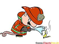 Cartoon Feuerwehrmann mit Schlauch löscht Feuer Illustration, Clipart, Bild