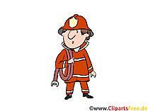 Comic Feuerwehr - Feuerwehrmann Cartoon