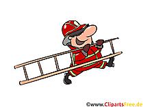Feuerhwehrmann mit Leiter Illustration, Clipart, Bild
