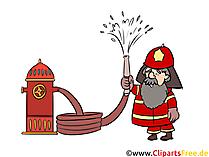 Feuerwehr Wasserspritze, Wasserhahn, Illustration, Comic, Cartoon, Bild