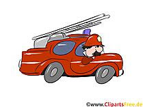 Feuerwehreinsatz Auto mit Leiter Clipart, Illustration, Bild