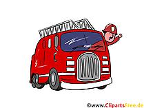 Feuerwehrfahrzeug fährt Cliparts, Comic, Cartoon, Bild